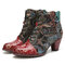 SOCOFY Retro Flowers Cloth Splicing Genuine Leather Wearable Chunky Heel Ankle Boots - Red