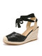 Women Closed Toe Comfy Wearable Lace Up Espadrille Wedges Sandals - Black