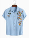 Mens Cotton Breathable Floral Embroidered Button Up Casual Short Sleeve Shirts - Blue