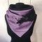 Женский универсальный толстый теплый шарф в полоску с принтом - пурпурный