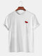 Mens Simple Six Color Cartoon Chest Graphic Loose Cotton T-shirts - White