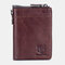 Men Anti theft Genuine Leather 15 Card Slots Short Wallet Purse - Coffee