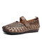 SOCOFY Vintage Handmade All-leather Cutout Stitching Hook Loop Strap Flat Shoes - Brown