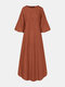 Solid Color Puff Sleeve Patchwork Casual Long Sleeve Dress for Women - Orange
