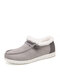 Women Large Size Warm Lining Solid Flat Loafers Shoes - Gray