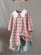 Plaid Doll Collar Button Down Short Sleeve Blouse - Red