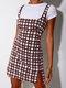 Plaid Print Straps Zip Front Plus Size Short Dress - Wine Red