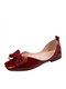 Women Solid Color Bowknot Elegant Date Shoes Soft Square-toe Ballet Flats - Red