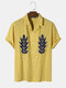 Mens 100% Cotton Abstract Embroidery Revere Collar Street Shirt - Yellow