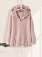Fleece Zip Front Long Sleeve Plus Size Knotted Hoodie with Pocket - Pink