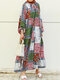 Ethnic Print Long Sleeve Loose Casual Dress For Women - Green