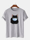 Mens 100% Cotton Funny Cat Printed Short Sleeve Graphic T-Shirt - Grey