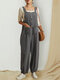 Solid Color Sleeveless Elastic Cuff Button Jumpsuit With Pocket - Dark Grey