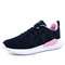 Women Comfy Knitted Lace Up Wide Fit Walking Sneakers - Blue