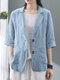 Однотонная повседневная куртка с отложным воротником и рукавами 3/4 с карманами - Светло-синий