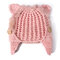 Women Mohair Solid Color Hats Cute Cap Winter Warm Windproof Fashion Bucket Cap With Cat Ear - Pink