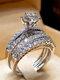 Trendy Geometric Metal Diamond Rings Temperament Rhinestone Rings - #09