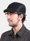 Men Wool Plus Thicken Winter Outdoor Keep Warm Patchwork Ear Protection Forward Hat Beret Hat Flat Hat - Black