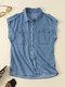 Solid Lapel Sleeveless Pocket Button Women Denim Blouse - Light Blue