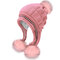 Women Matching Knit Hat And Glove Winter Set Cap With Ear Flaps Beanie Hat with Faux Fur Pom Pom - #03