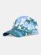 ユニセックス綿絞り染めグラデーションカラーファッション若い日よけ野球帽 - 青