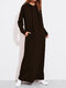 Solid Color Long Sleeves Casual Hooded Maxi Dress - Coffee