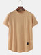 Mens Simple Solid Color Breathable Loose Casual O-Neck T-Shirts - Khaki
