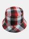 Women & Men Plaid Pattern Retro Port Style Windproof Soft All-match Travel Bucket Hat - #03