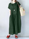 Casual Solid Color Pleated Loose Plus Size Dress with Pockets - Green