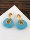 Vintage Geometric Natural Stone Women Earrings Triangle Turquoise Pendant Earrings - Gold