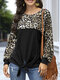 Leopard Print Patchwork Long Sleeves O-neck Casual T-shirt For Women - Black