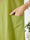 Solid Color Sleeveless Pockets Midi Dress for Women - Green