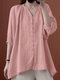 Solid Button V-neck 3/4 Sleeve Loose Women Blouse - Pink
