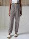 Vintage Corduroy Solid Color Back Elastic Waist Loose Pants For Women - Gray