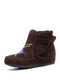 Plus Size Women Ethnic Embroidered Suede Tassel Straps Ankle Boots - Brown
