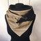 Женский универсальный толстый теплый шарф в полоску с принтом - Хаки