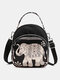 Women Waterproof Multi-carry Bohemia Elephant Print Handbag Crossbody Bag Backpack - #04