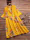 Vintage Print Stand Collar Loose Long Shirt for Women - Yellow