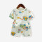 Boy's Diggers Cartoon Print Short-sleeved Soft Pajama Set For 1-5Y - As Picture