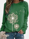 Women Printed Round Neck Long Sleeve Casual Loose Shirt Tops - Green
