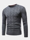 Mens Chevron Knitted Solid Color Crew Neck Slim Fit Casual Sweater - Gray