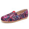 SOCOFY Folkways Printing Pattern Triangle Elastic Band Slip On Fishermans Shoes Flat Shoes - Pink