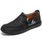 Menico Men Hand Stitching Leather Non Slip Soft Sole Casual Shoes - Black