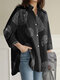 Geometry Print Long Sleeves Casual Loose Blouse With Pockets - Black