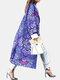 Calico Print Loose Casual Coat For Women - Purple