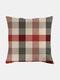 Classic Plaid Pattern Linen Cushion Cover Home Sofa Art Decor Throw Pillowcase - #03
