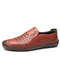 Men Cowhide Leather Slip-on Hard Wearing Breathable Hand Stitching Shoes - Brown