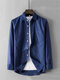 Men Cotton Solid Breathable Chest Pocket Loose Casual Long Sleeve Shirt - Blue