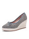 Women Casual Soild Color Bowknot Design Breathable Wedges Heel Espadrille Loafers Shoes - Gray
