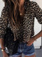 Leopard Print Button Long Sleeve Casual Blouse For Women - Brown
